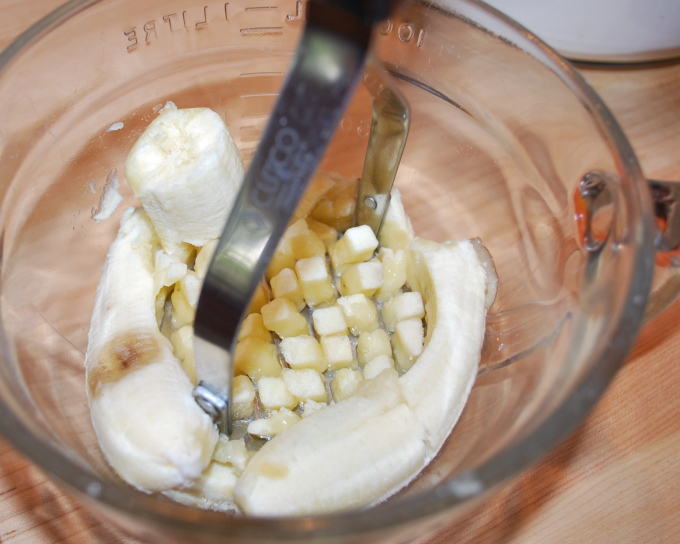 Use a potato masher to mash up the bananas...