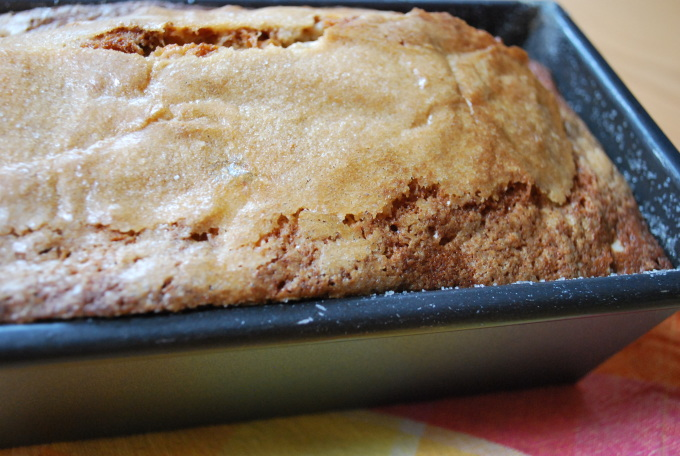 Let the banana bread cool for ten minutes...
