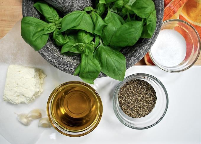 Ingredients for Peruvian Pesto (Tallarines Verdes)