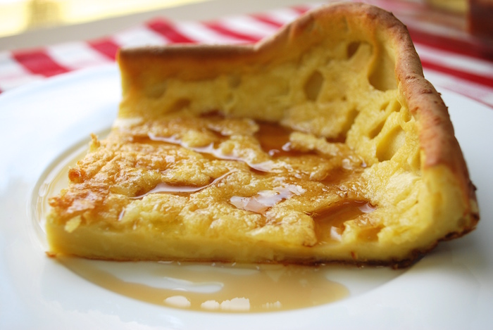 German Pancake oozing with maple syrup…
