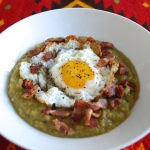 My Split Pea Soup with Bacon and Egg makes a hearty delicious meal. Perfect on a cold night or any night. Serve with a poached or fried egg on top and crispy bacon.