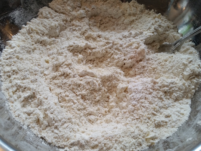 butter mixed in scone mix