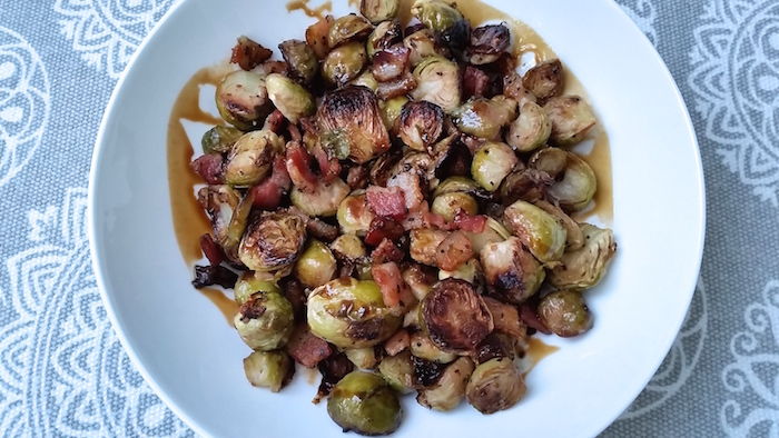 Perfectly Roasted Brussels sprouts accompanied with crispy bits of bacon prepared in one pan. Simple and delicious with only 4 ingredients! One of my KISS recipes - Keep It Short Simple!