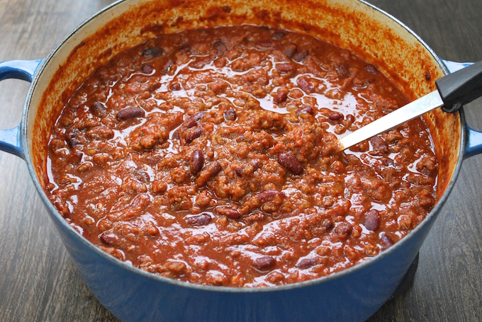 Nat Your Average Chili - A delicious chili made with ground beef, beans, and loads of spices added in 2 phases with just the right amount of heat. Simple to make and pleasing to the palate. Created and perfected 25 years ago and finally sharing with you.