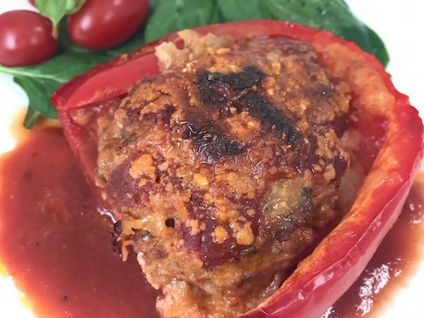 Italian Stuffed Peppers with Sausage and Mozzarella