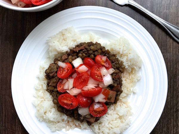 Lentils with Rice and Tomato Onion Dressing
