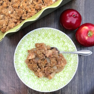 Apple Crisp is a simple dessert of apples and spices with a buttery oat streusel topping. Serve with some vanilla ice cream, and you have yourself a delicious dessert worthy of any gathering.