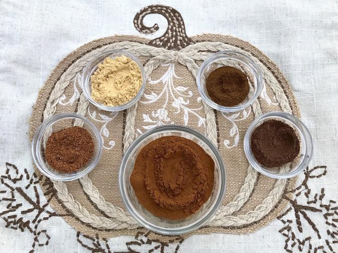 Cinnamon, ginger, nutmeg, ground cloves, and allspice.