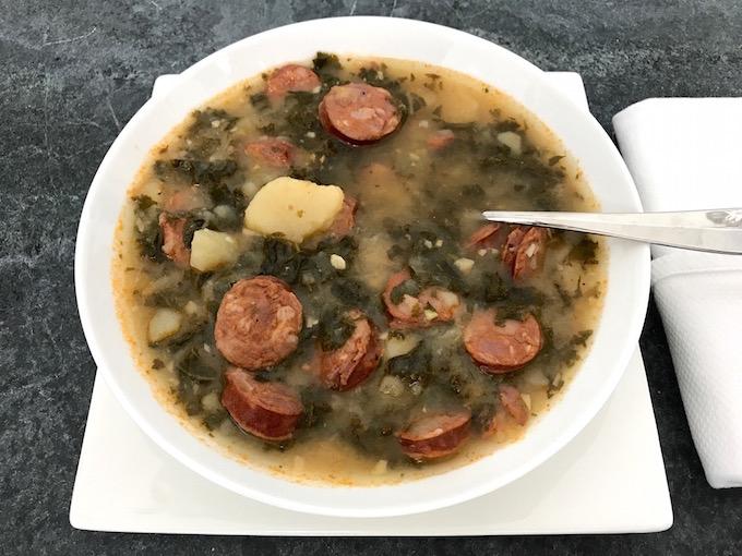 Bowl of Linguisa Kale Soup (Caldo Verde)