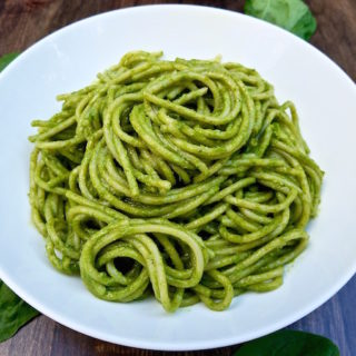 Plate of spinach pesto.