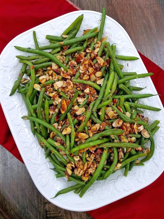 Platter of Green Beans Almondine.