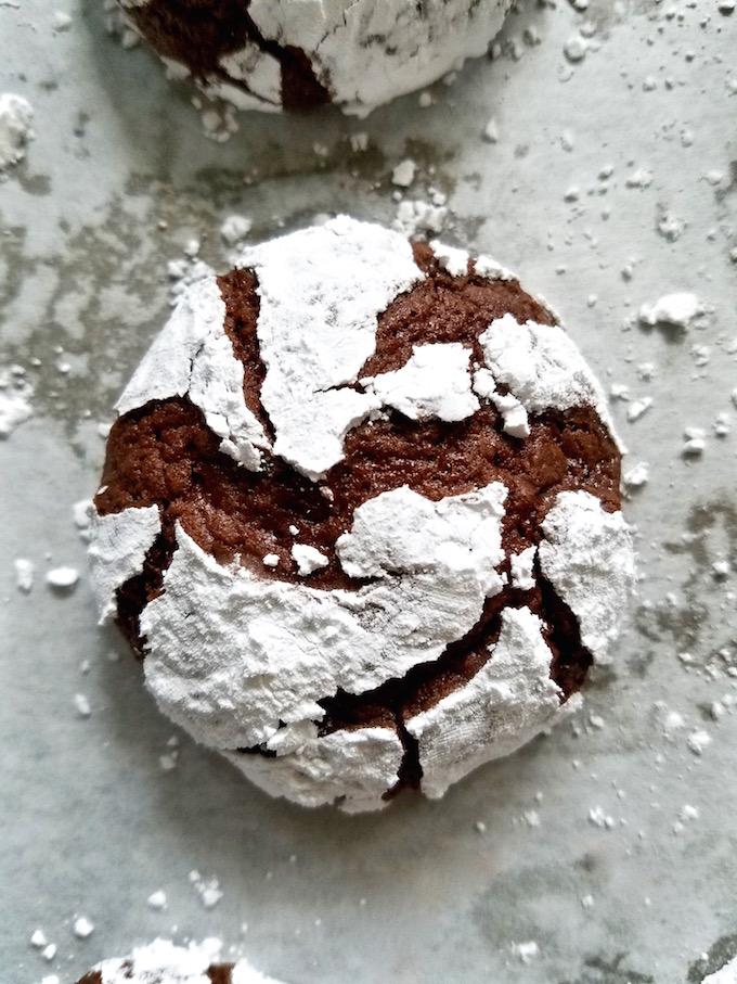 Closeup of chocolate crinkle cookies.