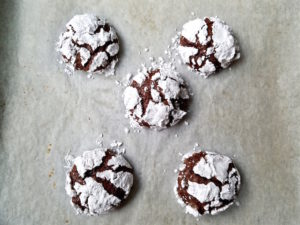 After photo of baked chocolate crinkle cookies.