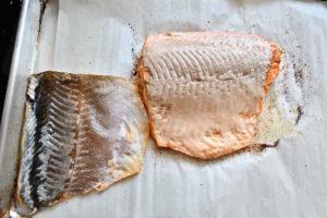 Skin peeled off roasted salmon