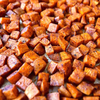 Closeup of roasted spiced sweet potatoes.