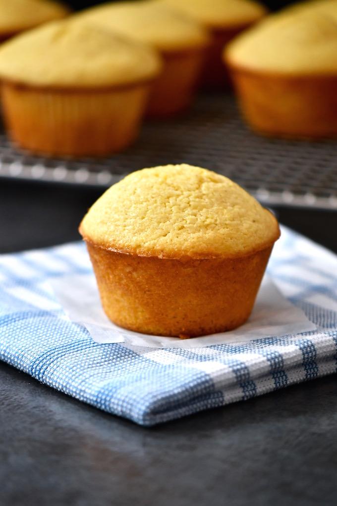 Muffin Method - Corn muffin on a napkin.